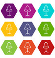 modern office chair icon set color hexahedron vector image vector image