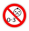 No kids 0-3 sign 1203 vector image