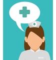 nurse girl cartoon bubble speech cross vector image