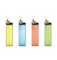 plastic lighters set vector image vector image
