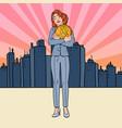pop art business woman holding big bitcoin coin vector image vector image