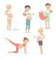 Pregnant women health care yoga nutrition vector image vector image