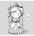 Pretty Drawing Princess vector image vector image
