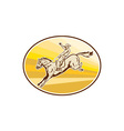 Rodeo Cowboy Riding Horse Oval Retro vector image vector image