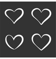 set contour white hearts elements vector image vector image