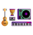 set different modern musical instruments and vector image vector image