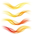 Set of abstract orange waves vector image vector image