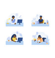 set on topic online education vector image