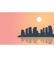 Silhouette of town and reflection landscape vector image vector image