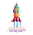 spaceship launch rocketship takeoff rocket trace vector image vector image