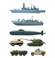 warships and armored vehicles of land forces vector image vector image