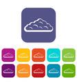 wet cloud icons set flat vector image vector image