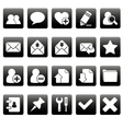 White web icons on black squares vector image