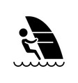 windsurfing icon black sign vector image