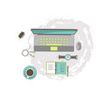 workplace flat style computer a technique vector image vector image