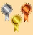 reward icon gold silver bronze silver vector image