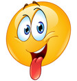 sticking out a tongue emoticon vector image