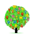 Abstract tree with colorful letters isolated on vector image