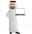 arab businessman holding a laptop vector image vector image