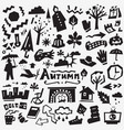 autumn doodles set vector image vector image