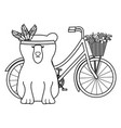 bear grizzly with feathers hat in bicycle bohemian vector image vector image