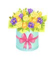 big cute bunch with varied flowers colorful poster vector image vector image