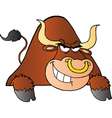 Brown Bull Over A Sign vector image vector image