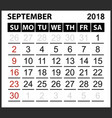 calendar sheet september 2018 vector image vector image