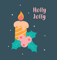 candle and holly christmas card vector image