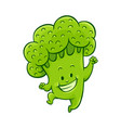 cartoon broccoli character dancing vector image vector image