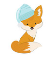 Cartoon fox in a hat stylized cute fox