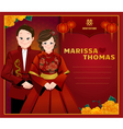 Chinese wedding cardcouple in Chinese dress vector image vector image