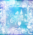 Christmas objects with ornamental elements on vector image vector image