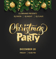 christmas party poster hand written lettering vector image vector image