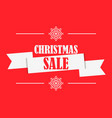 christmas sale banner with ribbon on red vector image