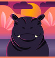 colorful portrait cute hippo sunset background vector image
