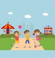 cute children at amusement park summer landscape vector image vector image