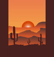 desert with cactus at sunset vector image