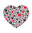 dog footprints in heart shape vector image vector image