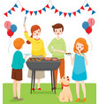 family celebrating together with barbecue party vector image