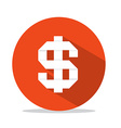Flat Design Dollar Sign in Red Circle vector image
