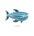 flat icon blue tuna fish with texture vector image