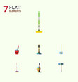 flat icon cleaner set of besom broom broomstick vector image vector image