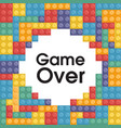 game over colorful lego background image vector image