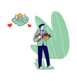 groom character in festive costume holding bouquet vector image vector image