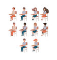 group of young students in school chairs vector image