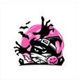 halloween pink moon mummy face vector image