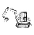 hand drawn mini excavator vector image
