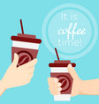 hand holding coffee cup at vector image vector image