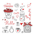 happy valentines day doodle set with vector image vector image